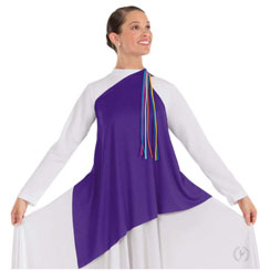 eurotard 13844 asymmetrical streamer tunic